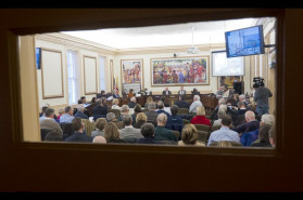The City Dock Action Committee introduces its final report and recommendations about the future of the downtown Annapolis waterfront to the city council, the mayor, and a packed City Hall in Annapolis. (Joshua McKerrow/Capital Gazette)