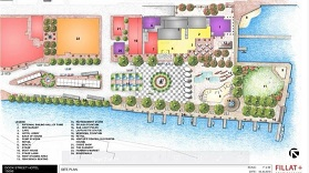 An architect's drawing of a proposed public-private redevelopment of City Dock, including a lawn, a fountain, a spray park, a performance area and -- in the center in the upper part of the drawing --