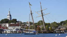 The Pride of Baltimore II arrives at City Dock in Annapolis on a recent visit. A committee considering the future of City Dock listened to public ideas Monday night. (Paul W. Gillespie / Capital Gazet